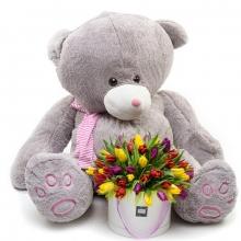 """Подарочный набор """"Мишка с тюльпанами"""""""